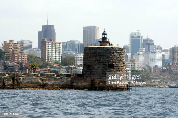 General view of lighthouse with in Sydney Australia with the city skyline in the background