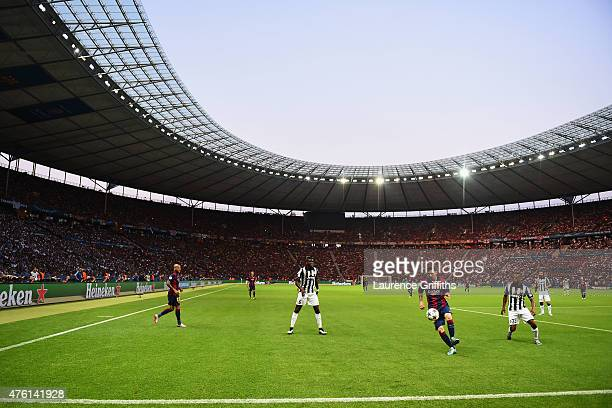 A general view of Lionel Messi of Barcelona in action during the UEFA Champions League Final between Juventus and FC Barcelona at Olympiastadion on...