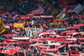 General view of Liverpool fans at Anfield in Liverpool England Mandatory Credit Allsport UK /Allsport