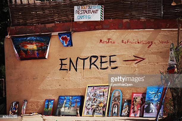 A general view of local art next to a restaurant on the Ile De Gore on December 27 2007 near Dakar Republic of Senegal The Gore island is situated...