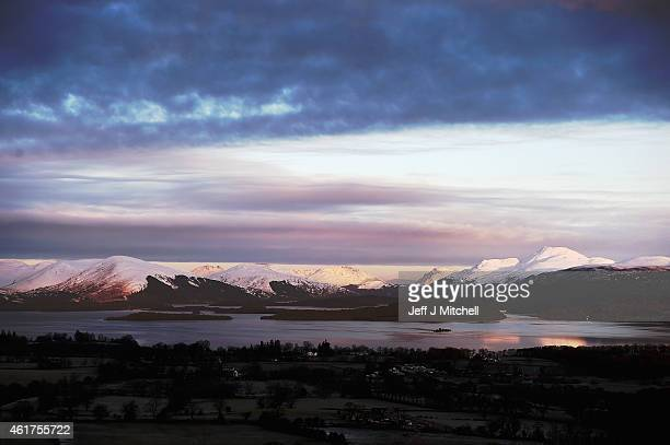 A general view of Loch Lomond from Duncryne on January 19 2015 in Gartochran Scotland Temperatures in parts of Scotland have fallen to as low as 12C...