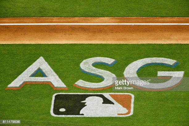 A general view of logos on the field during the SiriusXM AllStar Futures Game between the US Team and the World Team at Marlins Park on July 9 2017...
