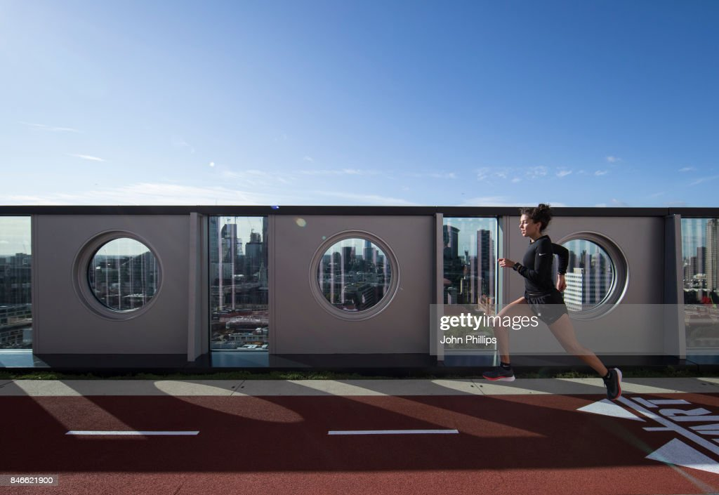 A general view of London's highest outdoor running track at AHMM/Derwent's White Collar Factory on September 13, 2017 in London, England.