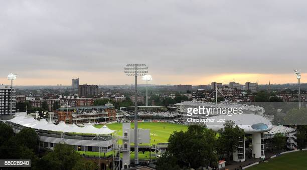 A general View of Lord's Cricket Ground showing the new Telescopic Floodlights made by Abacus Lighting unveiled during the Twenty20 match between...