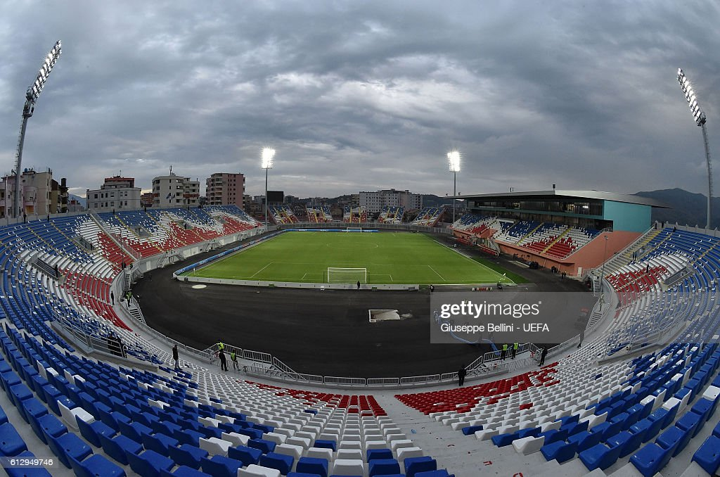 General view of Loro Borici Stadium prior the FIFA 2018 World Cup Qualifier between Kosovo and Croatia at Loro Borici Stadium on October 6, 2016 in Shkoder, Albania.