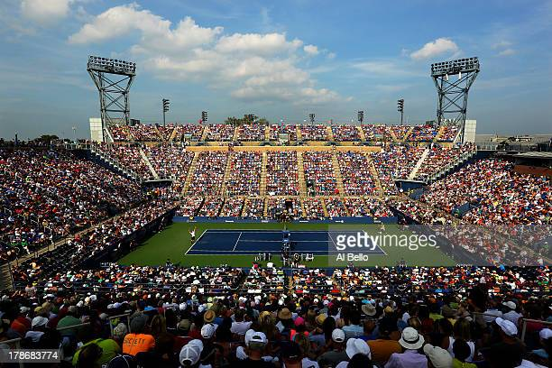 A general view of Louis Armstrong Stadium as Andy Murray of Great Britain serves during his men's singles second round match against Leonardo Mayer...