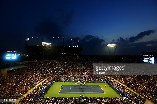 A general view of Louis Armstrong Stadium backdropped by Arthur Ashe Stadium as Roger Federer of Switzerland faces Tommy Robredo of Spain during...