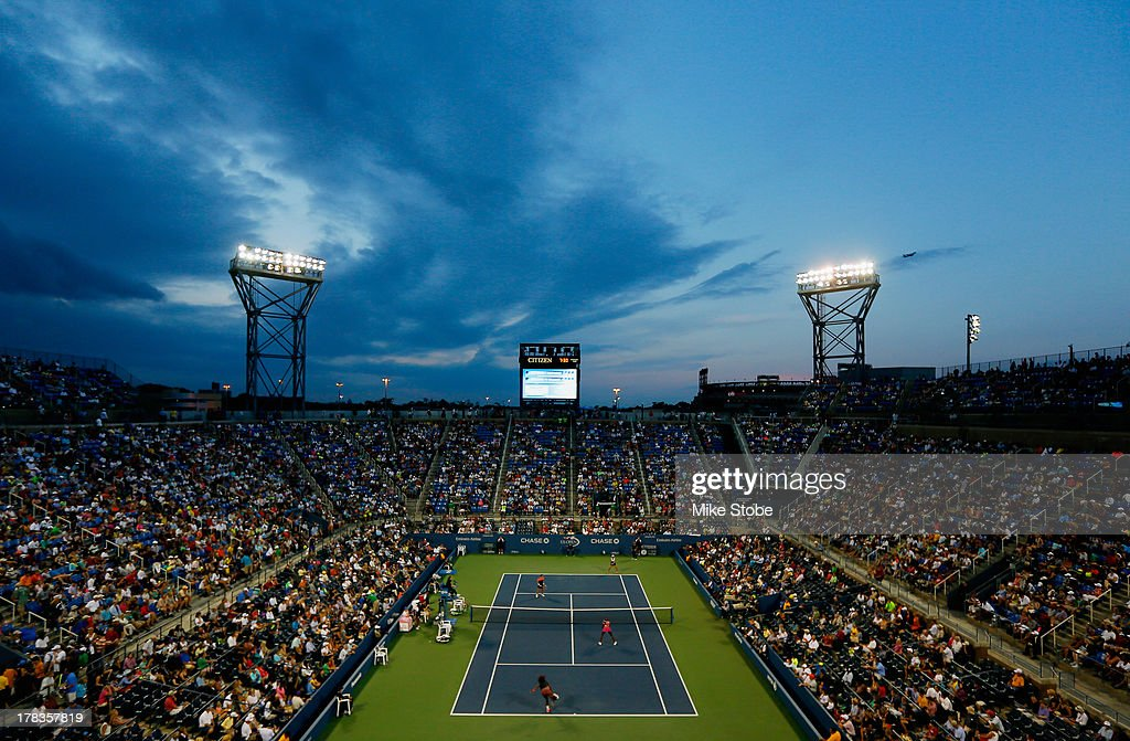 A general view of Louis Armstrong Stadium during their women's doubles first round match between <a gi-track='captionPersonalityLinkClicked' href=/galleries/search?phrase=Serena+Williams+-+Tennis+Player&family=editorial&specificpeople=171101 ng-click='$event.stopPropagation()'>Serena Williams</a> and <a gi-track='captionPersonalityLinkClicked' href=/galleries/search?phrase=Venus+Williams&family=editorial&specificpeople=171981 ng-click='$event.stopPropagation()'>Venus Williams</a> of the United States of America against <a gi-track='captionPersonalityLinkClicked' href=/galleries/search?phrase=Silvia+Soler+Espinosa&family=editorial&specificpeople=6992657 ng-click='$event.stopPropagation()'>Silvia Soler Espinosa</a> of Spain and <a gi-track='captionPersonalityLinkClicked' href=/galleries/search?phrase=Carla+Suarez+Navarro&family=editorial&specificpeople=5294252 ng-click='$event.stopPropagation()'>Carla Suarez Navarro</a> of Spain on Day Four of the 2013 US Open at the USTA Billie Jean King National Tennis Center on August 29, 2013 in New York City.