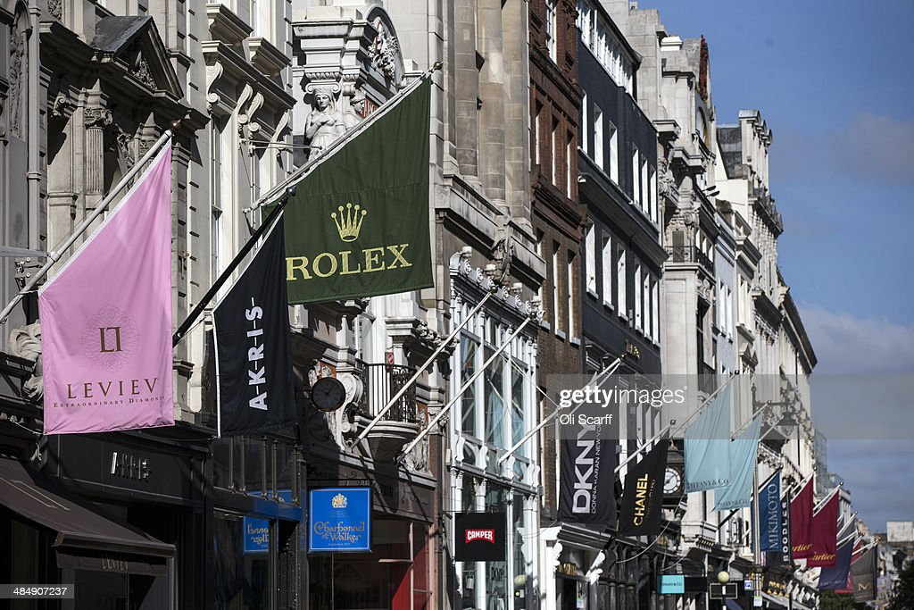 A general view of luxury goods retailers shop fronts on Old Bond Street on April 15 2014 in London England A report by property advisers Colliers...