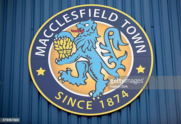 General view of Macclesfield Town club crest at Moss Rose Ground prior to the PreSeason Friendly between Macclesfield Town and Wigan Athletic at Moss...