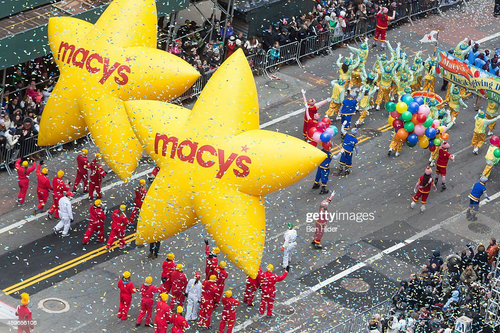 A general view of Macy's balloons at the 88th Annual Macy's Thanksgiving Day Parade outside Macy's Department Store in Herald Square on November 27...
