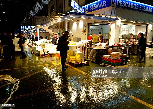 A general view of Madrid's principal wholesale food market Mercamadrid during the fourth day of the truck drivers strike on June 12 2008 in Madrid...