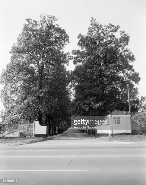 A general view of Magnolia Lane shown from across Washington Road at Augusta National Golf Club on February 1961 in Augusta Georgia