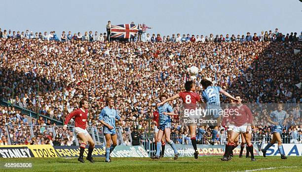 A general view of Maine Road and the Manchester City fans during the Canon League Division Two match between Manchester City and Charlton Athletic at...