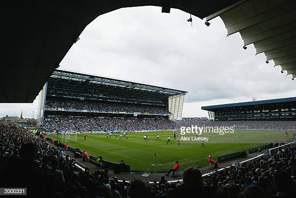 General view of Maine Road as it hosts it's last league game for Manchester City during the FA Barclaycard Premiership match between Manchester City...
