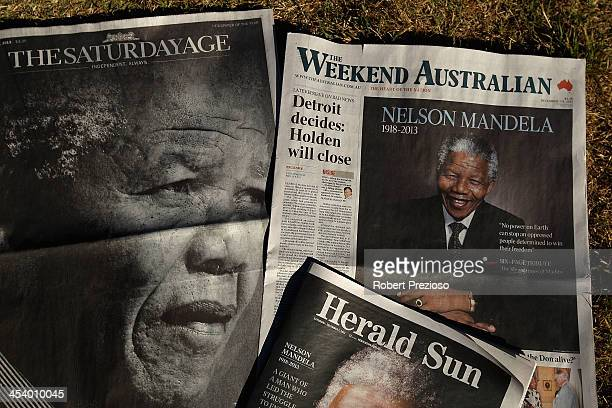A general view of major newspapers after the death of Nelson Mandela on December 7 2013 in Melbourne Australia Mandela was a leader that helped...
