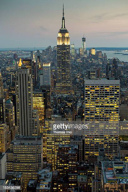 A general view of Manhattan and the skyline at night from the Rockefeller Center on September 25 2012 in New York City