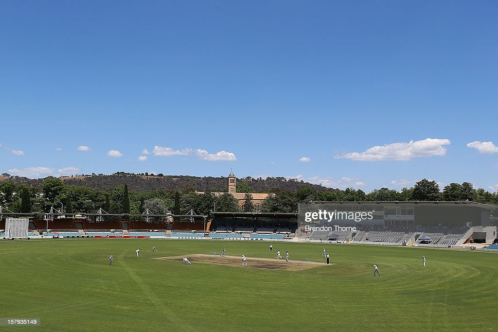 A general view of Manuka Oval during day three of the international tour match between the Chairman's XI and Sri Lanka at Manuka Oval on December 8, 2012 in Canberra, Australia.