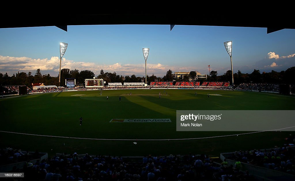 A general view of Manuka Oval under lights for the first time during the International Tour Match between the Prime Minister's XI and West Indies at Manuka Oval on January 29, 2013 in Canberra, Australia.