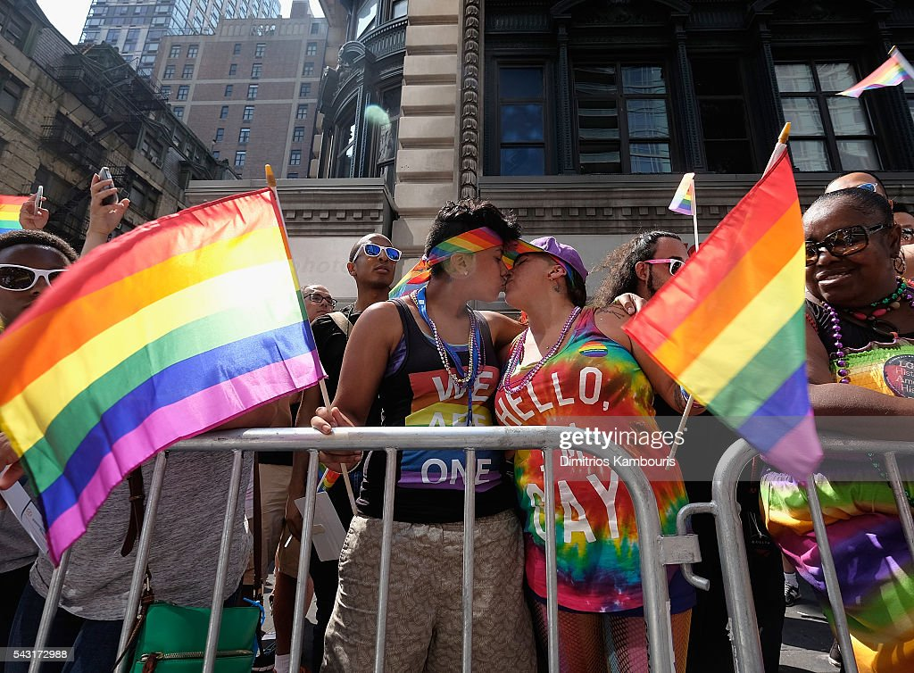 A general view of marchers during the New York City Pride 2016 march on June 26, 2016 in New York Cit on June 26, 2016 in New York City.