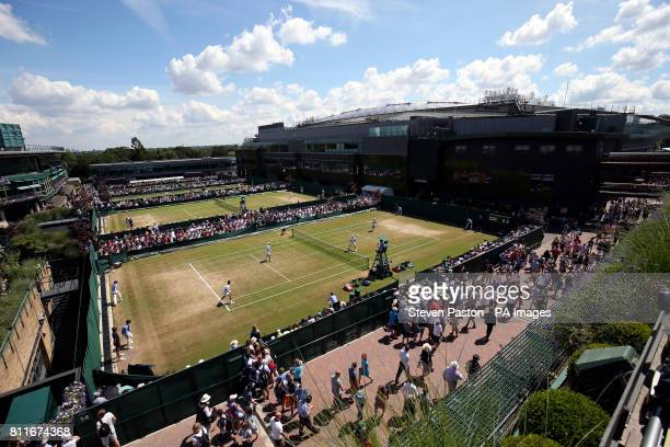 General view of Marcus Willis and Jay Clarke during their doubles match on day seven of the Wimbledon Championships at The All England Lawn Tennis...