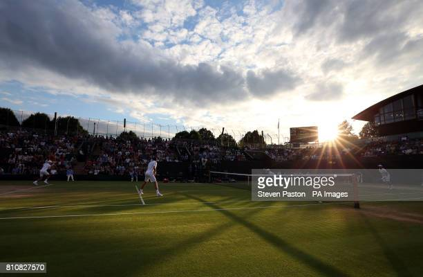 General view of Marcus Willis and Jay Clarke in action against Nicolas Mahut and PierreHugues Herbert on court three during their doubles match on...