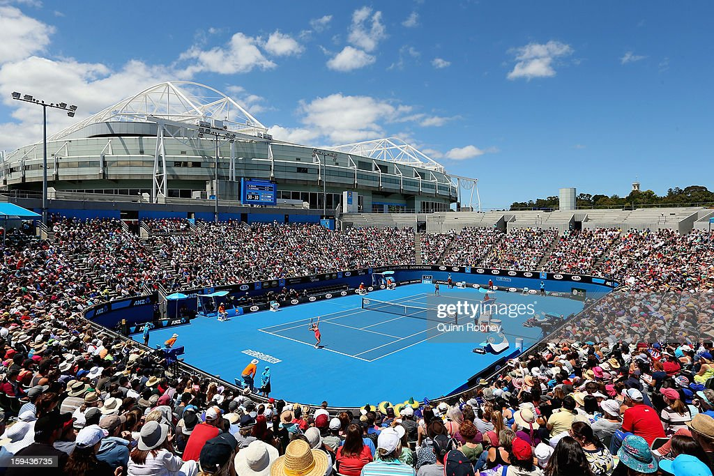 A general view of Margaret Court Arena during the first round match between Agnieszka Radwanska of Poland and Bojana Bobusic of Australia during day one of the 2013 Australian Open at Melbourne Park on January 14, 2013 in Melbourne, Australia.