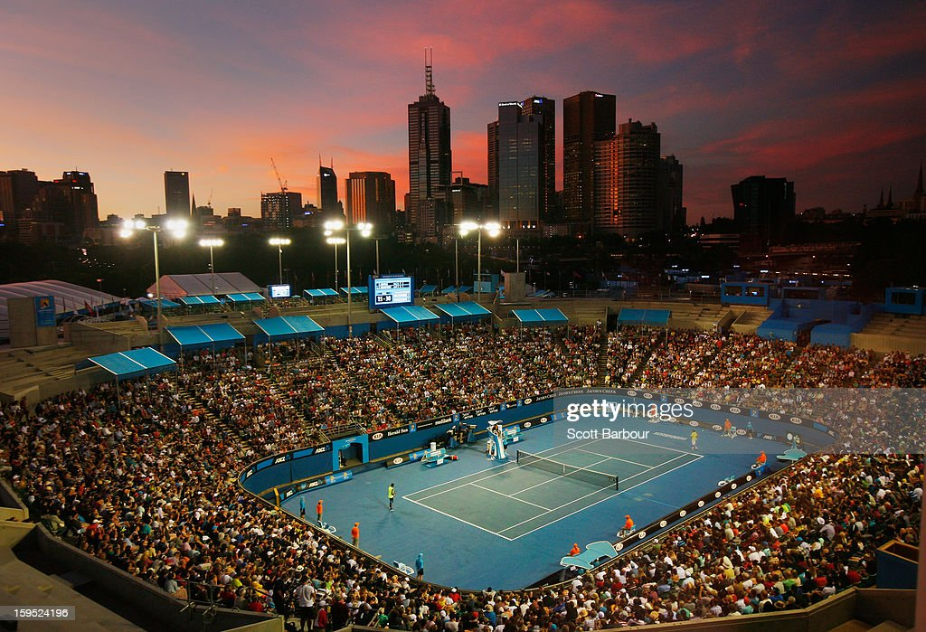 A general view of Margaret Court Arena during the first round match between Gael Monfils of France and Alexandr Dolgopolov of the Ukraine during day two of the 2013 Australian Open at Melbourne Park on January 15, 2013 in Melbourne, Australia.