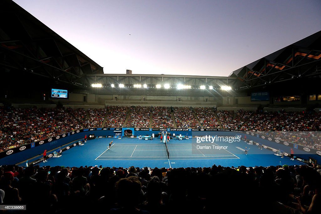 General view of Margaret Court Arena during the first round match between Marcos Baghdatis of Cyprus and Denis Istomin of Uzbekistan during day one of the 2014 Australian Open at Melbourne Park on January 13, 2014 in Melbourne, Australia.