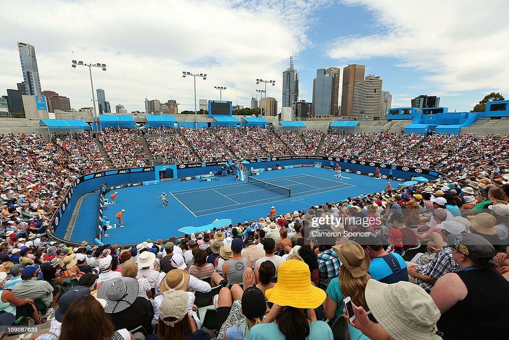 A general view of Margaret Court Arena during the men's second round match between Go Soeda of Japan and Jo-Wilfred Tsonga of France during day four of the 2013 Australian Open at Melbourne Park on January 17, 2013 in Melbourne, Australia.