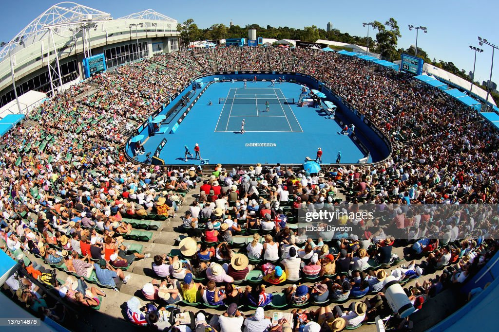 A general view of Margaret Court Arena during the mixed doubles match between Kei Nishikor and Kimiko Date-Krumm of Japan and Gisla Dulko and Eduardo Schwank of Argentina on day seven of the 2012 Australian Open at Melbourne Park on January 22, 2012 in Melbourne, Australia.