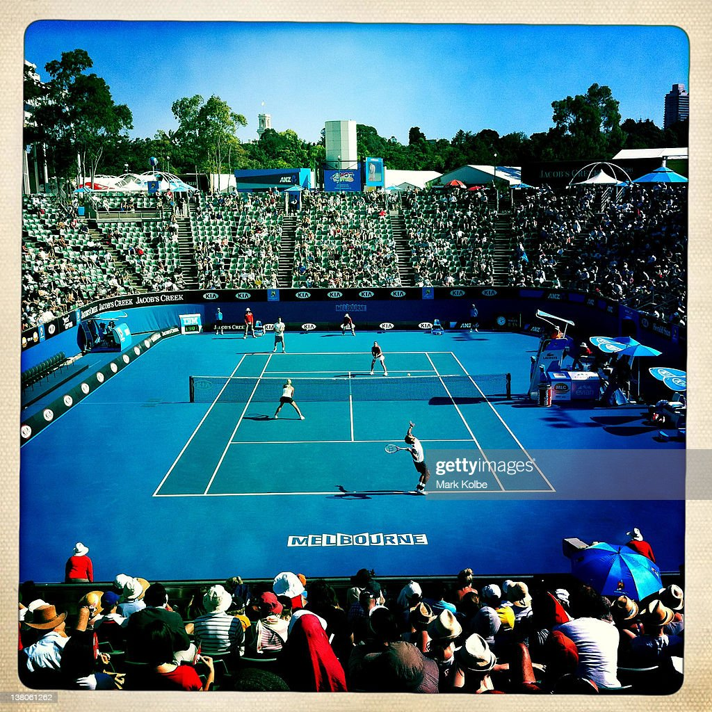 A general view of Margaret Court Arena during the second round mixed doubles match of Jelena Jankovic of Serbia and Bernard Tomic of Australia against Aisam-Ul-Haq Qureshi of Pakistan and Andrea Hlavackova of the Czech Republic during day eight of the 2012 Australian Open at Melbourne Park on January 23, 2012 in Melbourne, Australia.