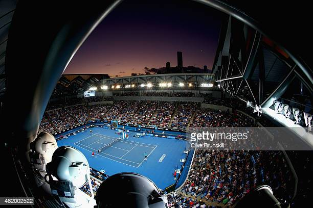 A general view of Margaret Court Arena showing Nick Kyrgios of Australia as he plays in his third round match against Malek Jaziri of Tunisia during...
