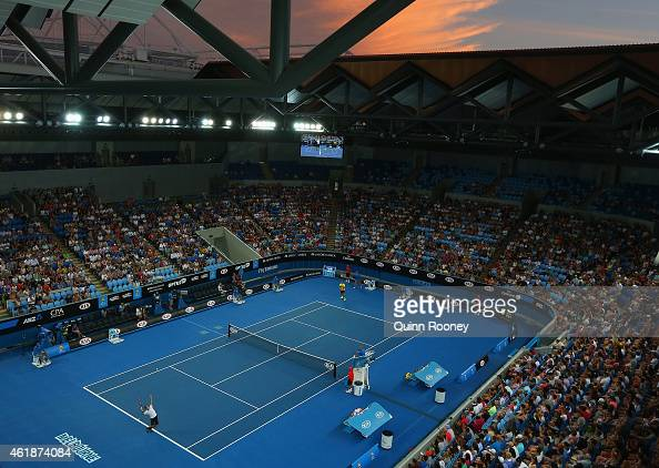 A general view of Margaret Court as Philipp Kohlschreiber of Germany serves in his second round match against Bernard Tomic of Australia during day...