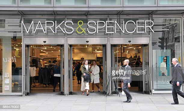 A general view of Marks and Spencer signage and store entrance in Fenchurch Street on July 28 2016 in London England
