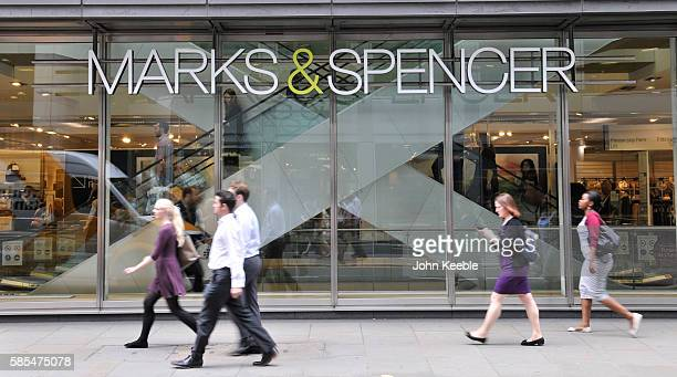 A general view of Marks and Spencer signage and store window in Fenchurch STreet on July 28 2016 in London England