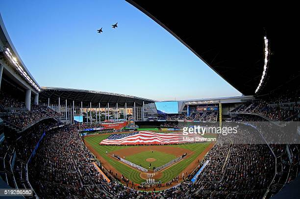 A general view of Marlins Park during 2016 Opening Day between the Miami Marlins and the Detroit Tigers on April 5 2016 in Miami Florida