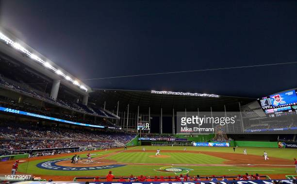 A general view of Marlins Park during a World Baseball Classic second round game between the United States and Puerto Rico at Marlins Park on March...