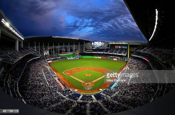 A general view of Marlins Park during Opening Day at Marlins Park between the Miami Marlins and the Colorado Rockies on March 31 2014 in Miami Florida