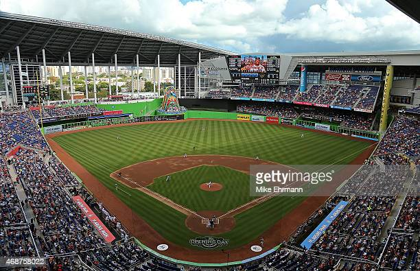 A general view of Marlins Park during Opening Day between the Miami Marlins and the Atlanta Braves on April 6 2015 in Miami Florida