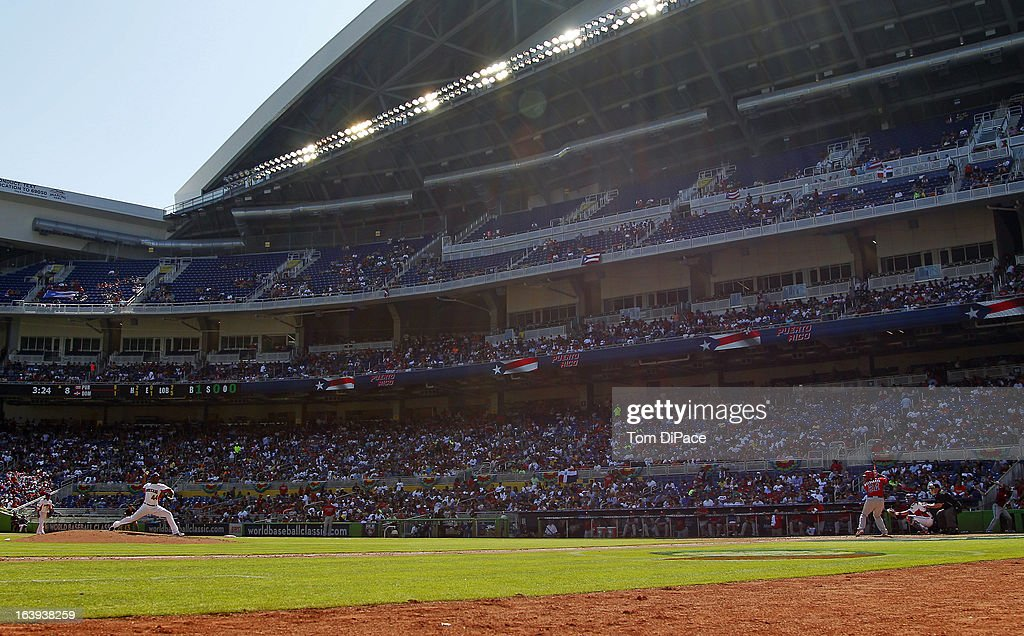 A general view of Marlins Park during Pool 2, Game 6 between Team Puerto Rico and Team Dominican Republic in the second round of the 2013 World Baseball Classic on Saturday, March 16, 2013 at Marlins Park in Miami, Florida.