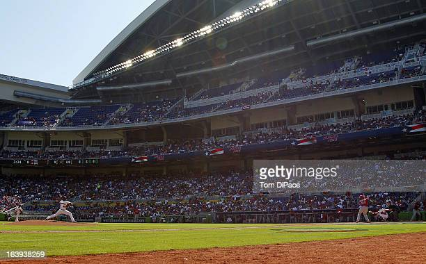 A general view of Marlins Park during Pool 2 Game 6 between Team Puerto Rico and Team Dominican Republic in the second round of the 2013 World...