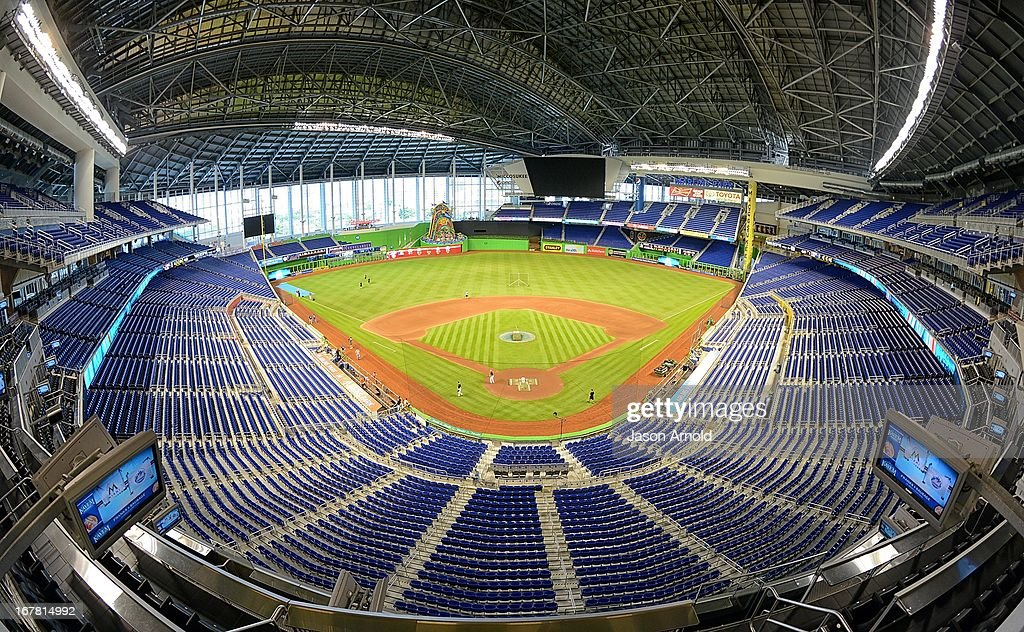 A general view of Marlins Park during the game between the Miami Marlins and the New York Mets the at Marlins Park on April 30, 2013 in Miami, Florida.