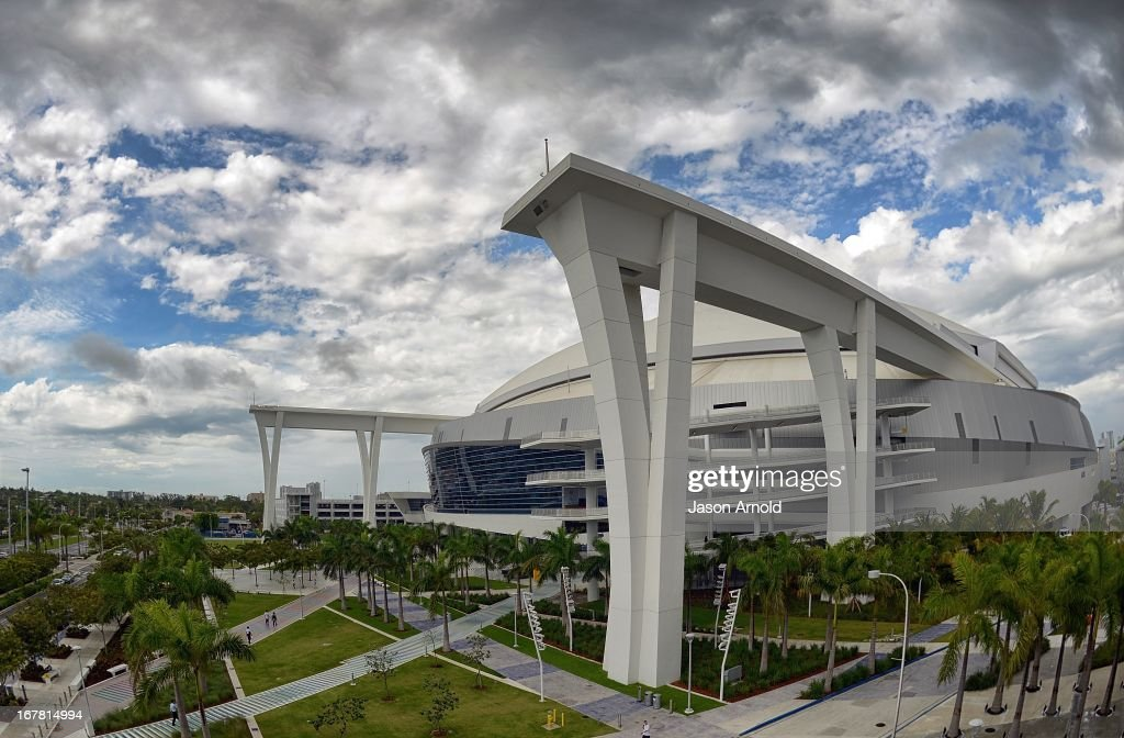 A general view of Marlins Park priorto a game between the Miami Marlins and the New York Mets at Marlins Park on April 30, 2013 in Miami, Florida.