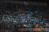A general view of Marseille fans during the UEFA Champions League round of 16 first leg match between Marseille and Manchester United at the Stade...