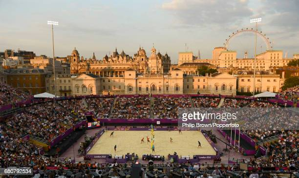 A general view of Martins Plavins and Janis Smedins of Latvia playing against Reinder Nummerdor and Rich Schuil of the Netherlands during the Mens...