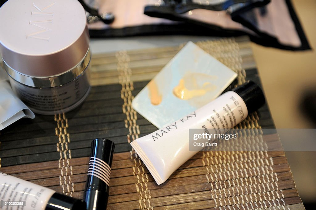 General view of Mary Kay products being used during Mary Kay at Tracy Reese F/W '16- Presentation during New York Fashion Week at Roxy Hotel on February 14, 2016 in New York City.