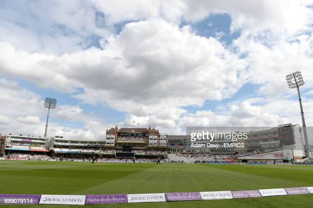 A general view of match action at the Kia Oval