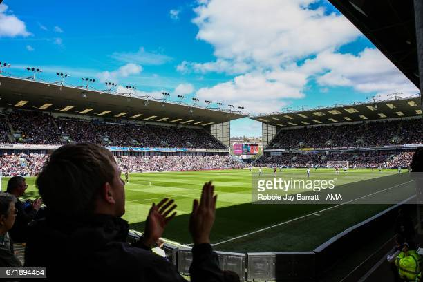 General View of match action at Turf Moor the home stadium of Burnley during the Premier League match between Burnley and Manchester United at Turf...