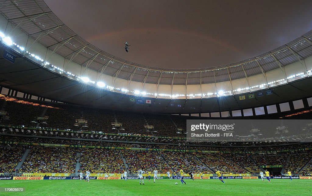 General View of match action during the FIFA Confederations Cup Brazil 2013 Group A match between Brazil and Japan at National Stadium on June 15, 2013 in Brasilia, Brazil.